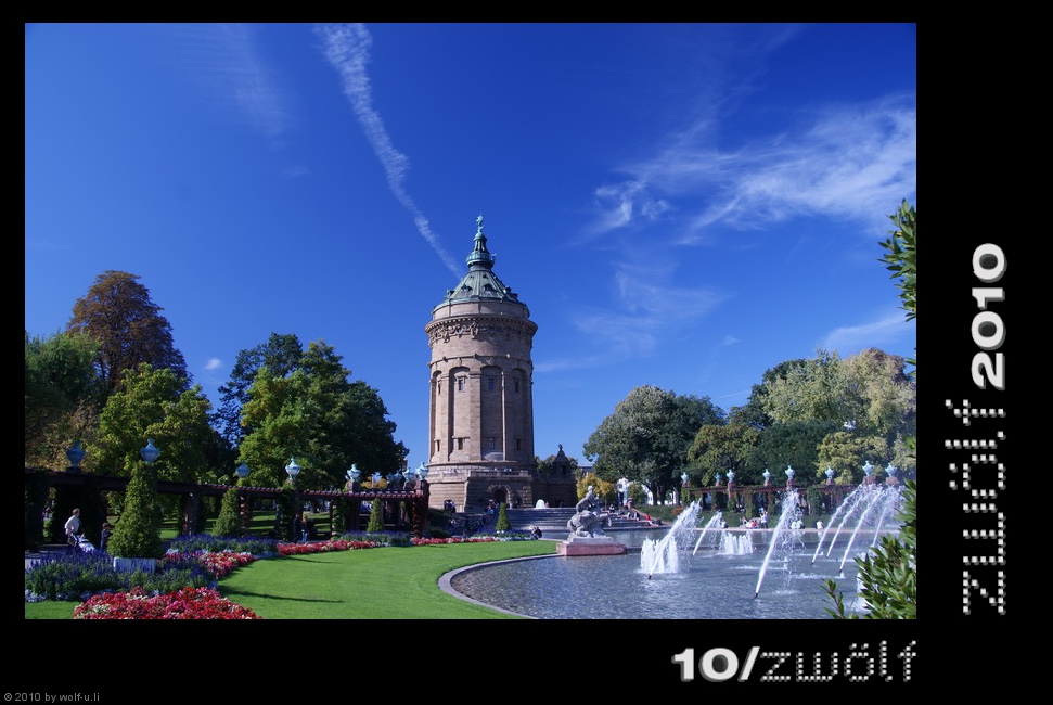 Projekt zwölf2010: Wasserturm Mannheim im Oktober