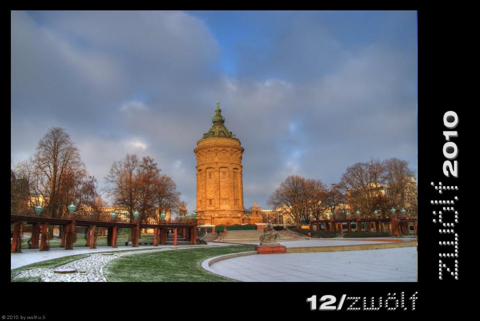 Wasserturm Mannheim im Dezember
