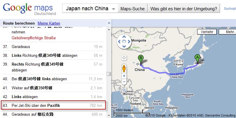 782km Jetski fahren – Wie kommt man von Japan nach China laut Google ...