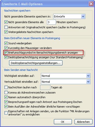 Erweiterte E-Mail-Optionen
