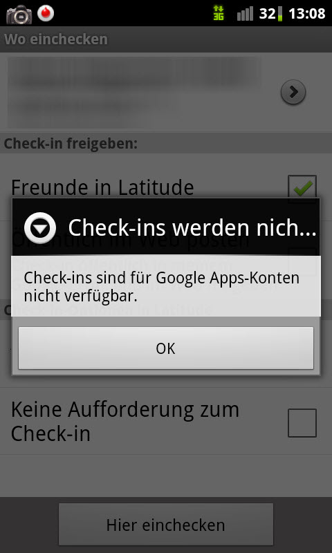 Check-In mit Google Places