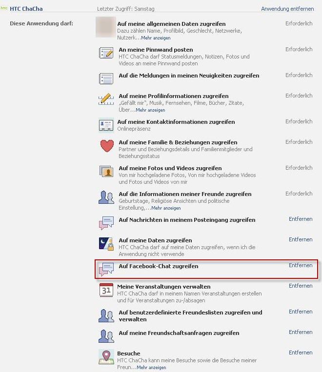 HTC ChaCha Facebook Chat deaktivieren
