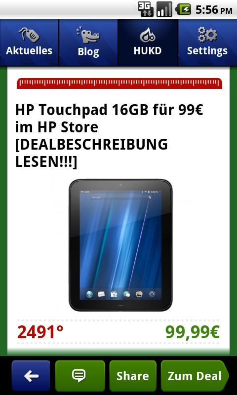 Screenshot der MyDealz App