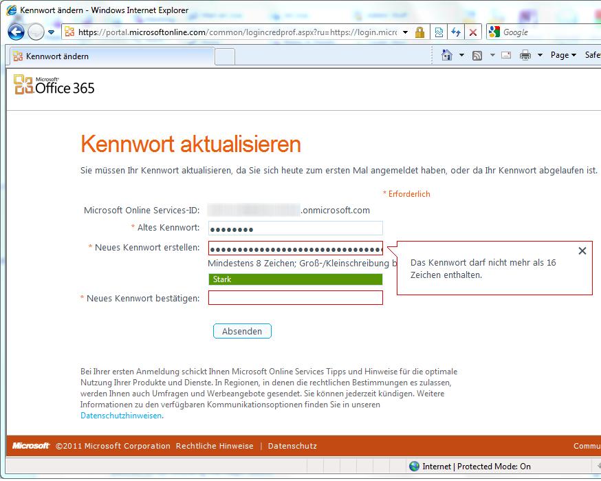 Microsoft Office 365 – Passwortlängenbegrenzung auf maximal 16 Zeichen