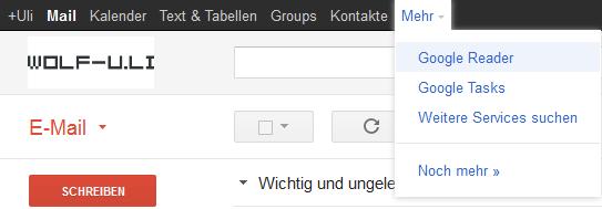 Hinzufügen weiterer Links in der Google Universal Navigation Bar (am oberen Bildschirmrand) in Google Apps