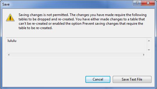 SQL Server - Prevent Saving Changes