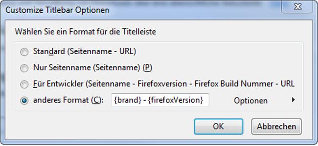 Titelleiste des Firefox umändern – z.B. Seitentitel entfernen