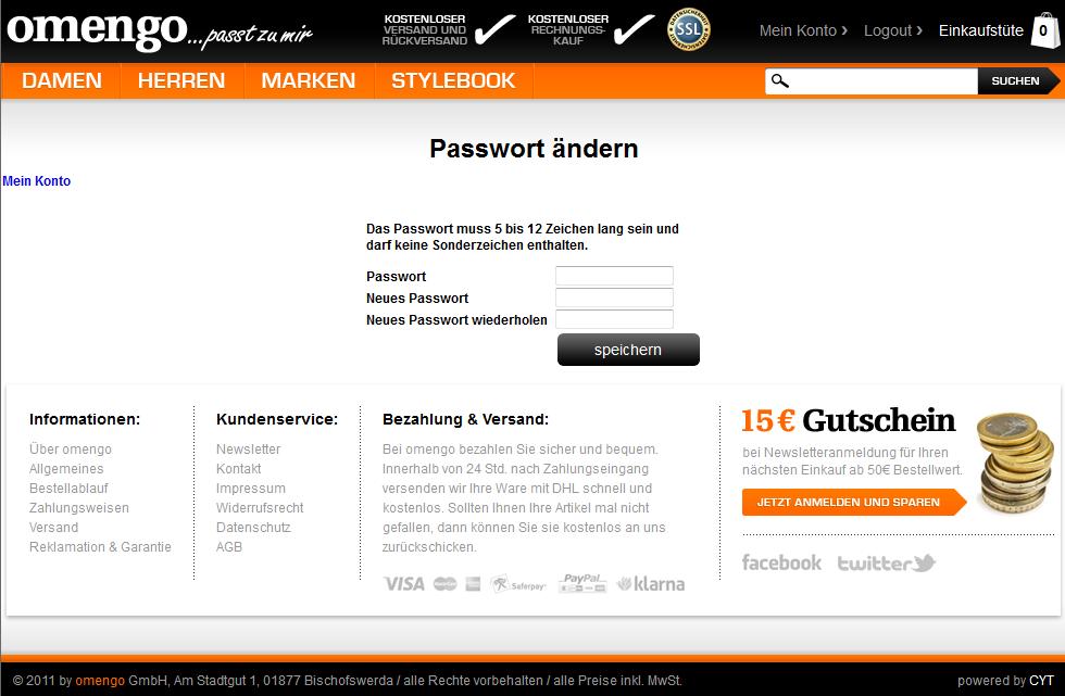 omengo – Passwortlängenbegrenzung auf maximal 12 Zeichen