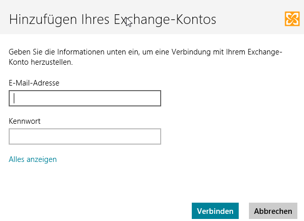 Windows8 - Mail-App - Exchange-Konto