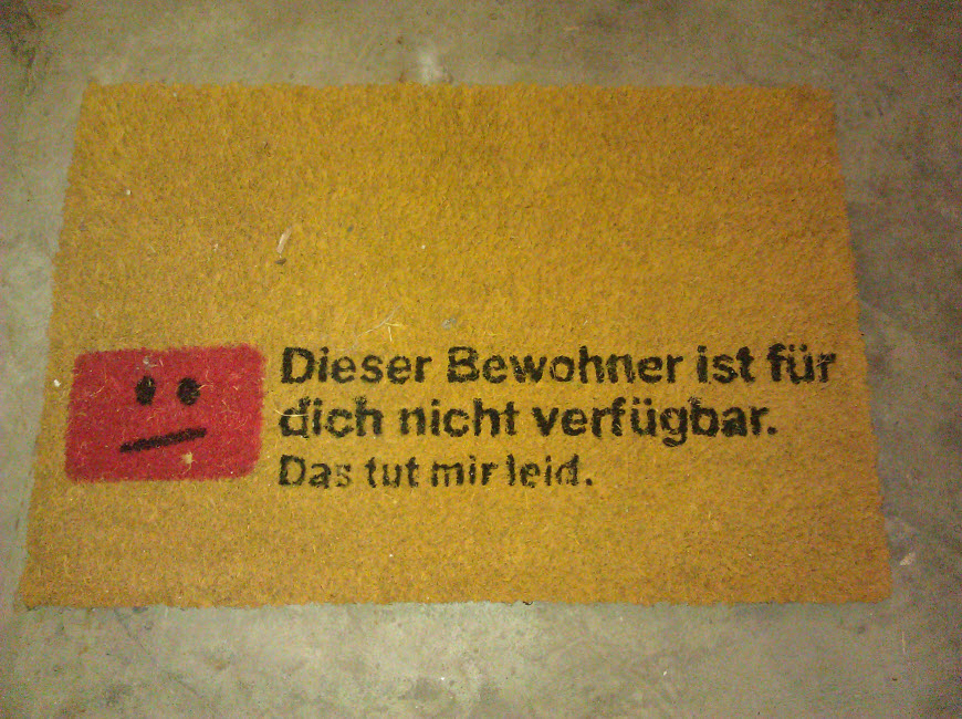 Fußmatte: Dieser Bewohner ist für dich nicht verfügbar.