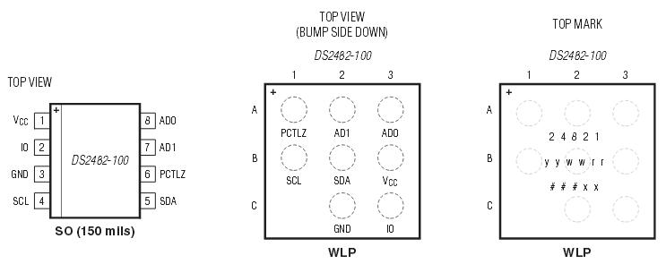 DS2482-100 – Anschluss und Pins des I²C OneWire-Busmasters